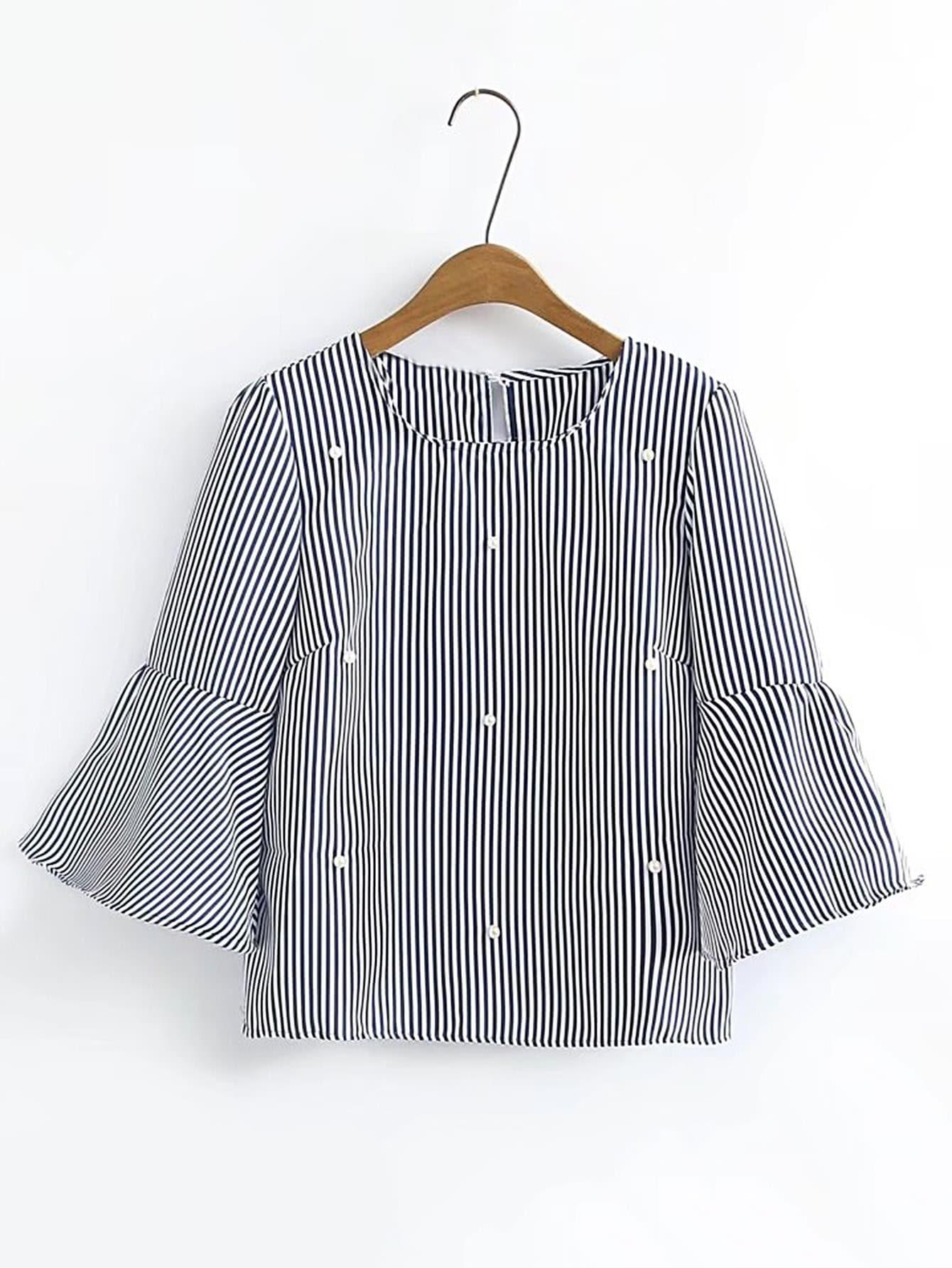 Фото Bell Sleeve Pearls Embellished Top. Купить с доставкой