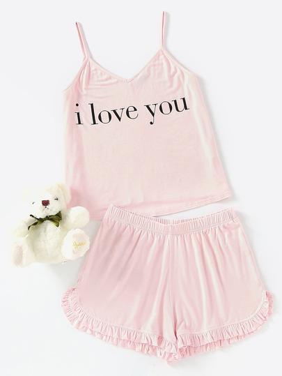 Slogan Print Cami Top And Frill Hem Shorts Pajama Set pictures