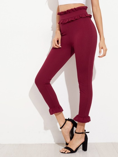 Frill Trim Zip Side Skinny Pants