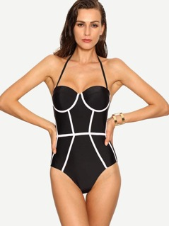 Contrast Binding One-Piece Swimwear - Black