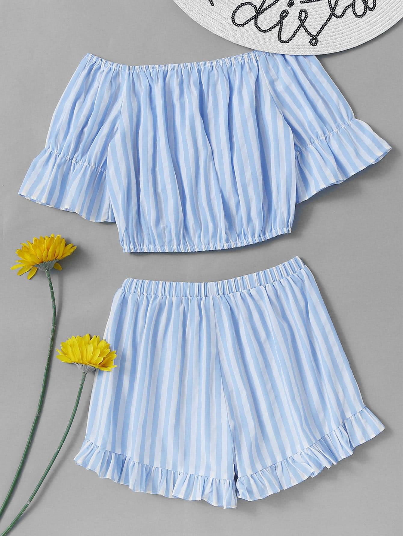 Фото Bardot Contrast Striped Crop Top With Frill Hem Shorts. Купить с доставкой
