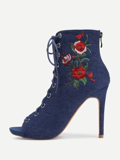 Flower Embroidery Lace Up Heels