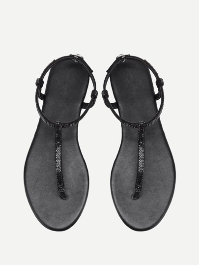 PU Toe Post Flat Sandals