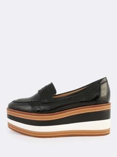 Patent Loafer Flatforms BLACK