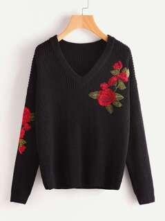 Embroidered Flower Applique Jumper