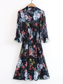 Ruffle Cuff Floral Print Lace Up Detail Dress