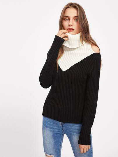 Contrast Neck Open Shoulder Jumper