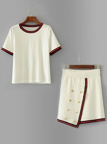 Contrast Binding Knit Tee With Metal Button Detail Skirt