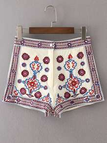 Sequin Detail Embroidery Shorts