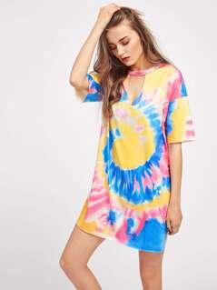Choker Neck Spiral Tie Dye Tee Dress
