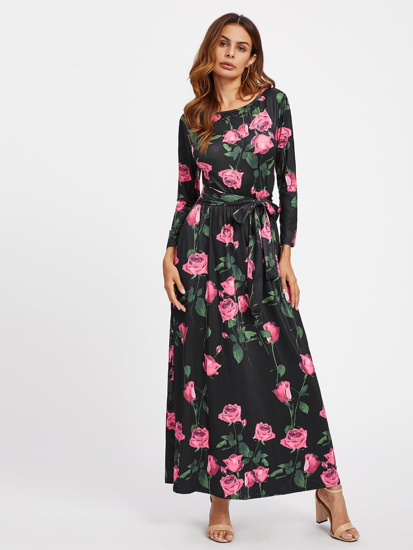 Фото All Over Rose Print Self Tie Dress. Купить с доставкой