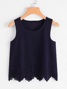 Scallop Laser Cut Textured Tank Top