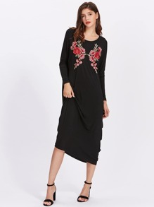 Embroidered Flower Patch Strappy V Back Cocoon Dress