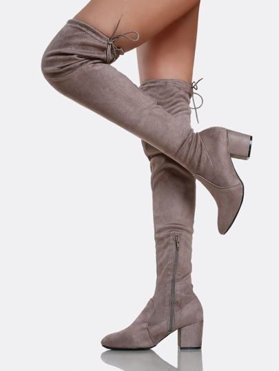 Drawstring Zip Up Chunky Heel Boots TAUPE
