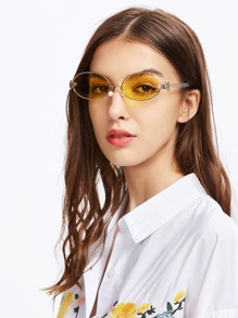 Tinted Oval Lens Sunglasses