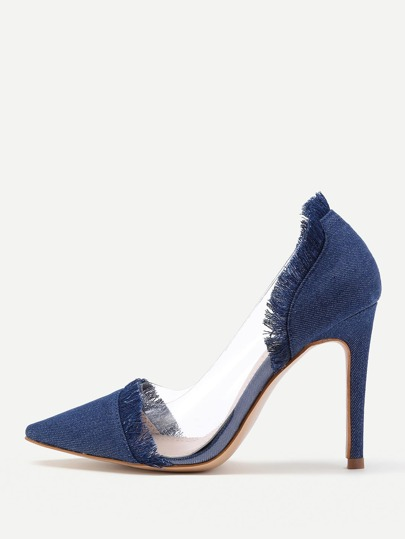 Clear Detail Pointed Toe Denim Heels