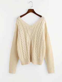 Double V Neck Mixed Knit Jumper