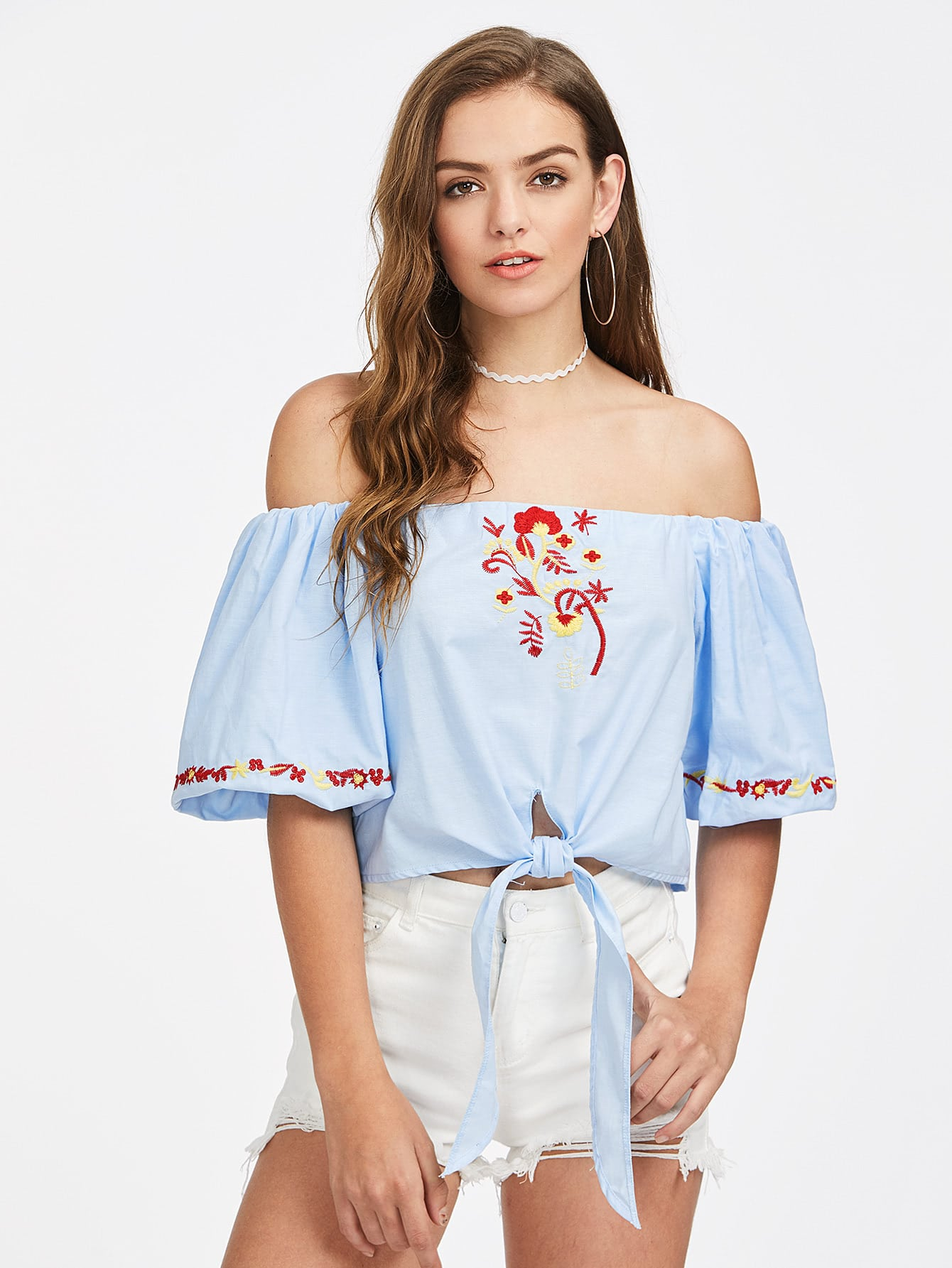 Фото Knot Front Lantern Sleeve Embroidered Bardot Top. Купить с доставкой