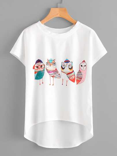 Cartoon Owl Print Dip Hem Chiffon Top
