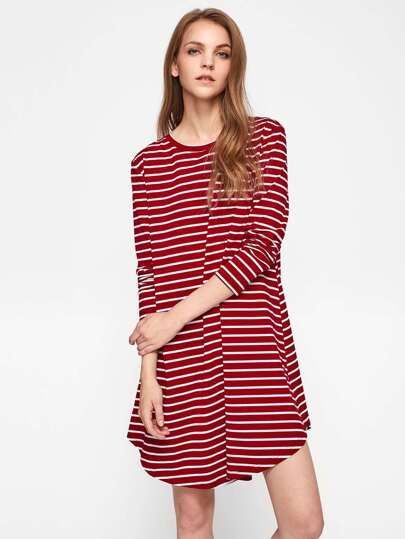 Curve Hem Striped Swing Tee Dress