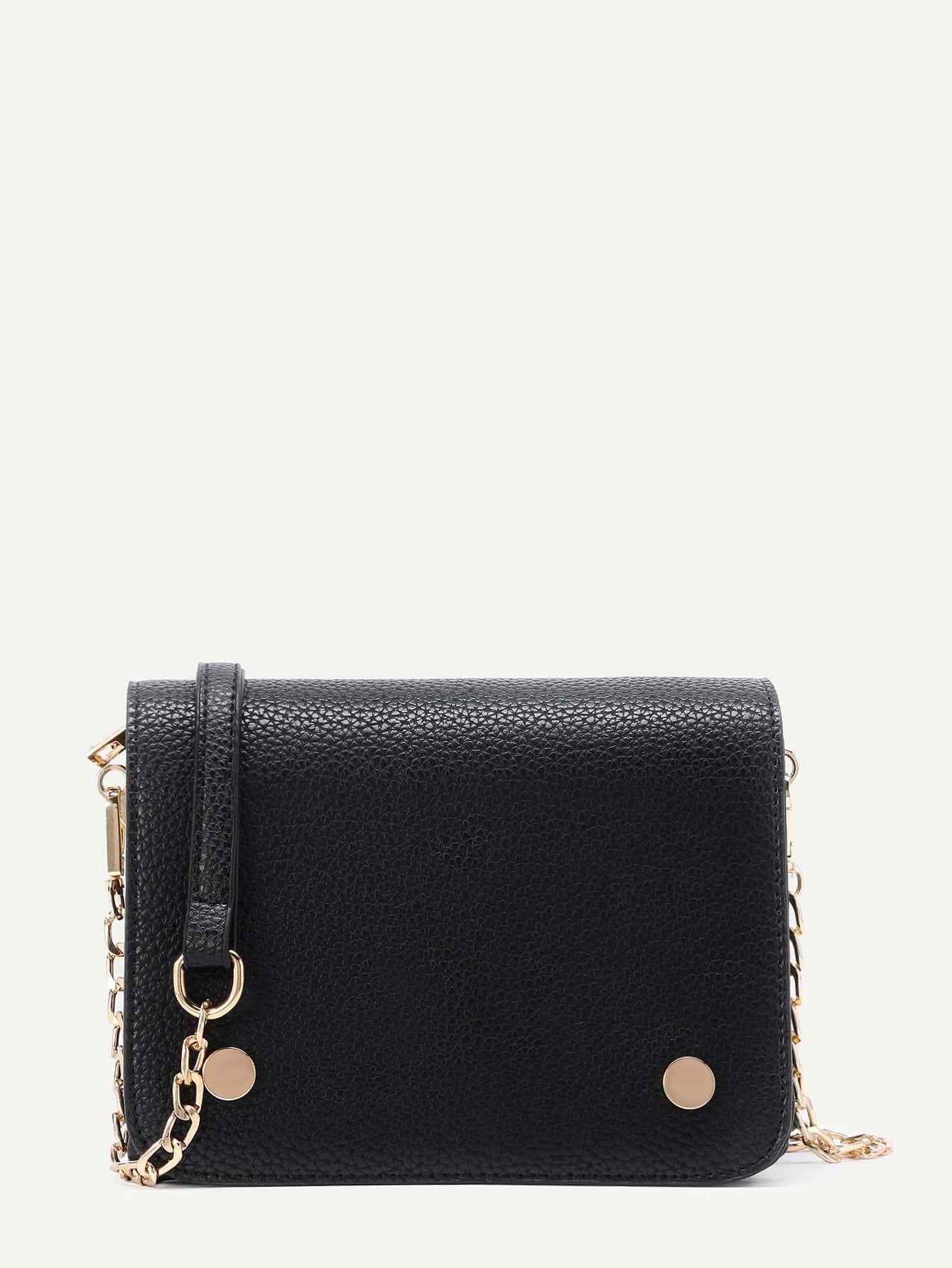 Фото Metal Detail Flap PU Crossbody Bag. Купить с доставкой