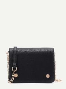 Metal Detail Flap PU Crossbody Bag