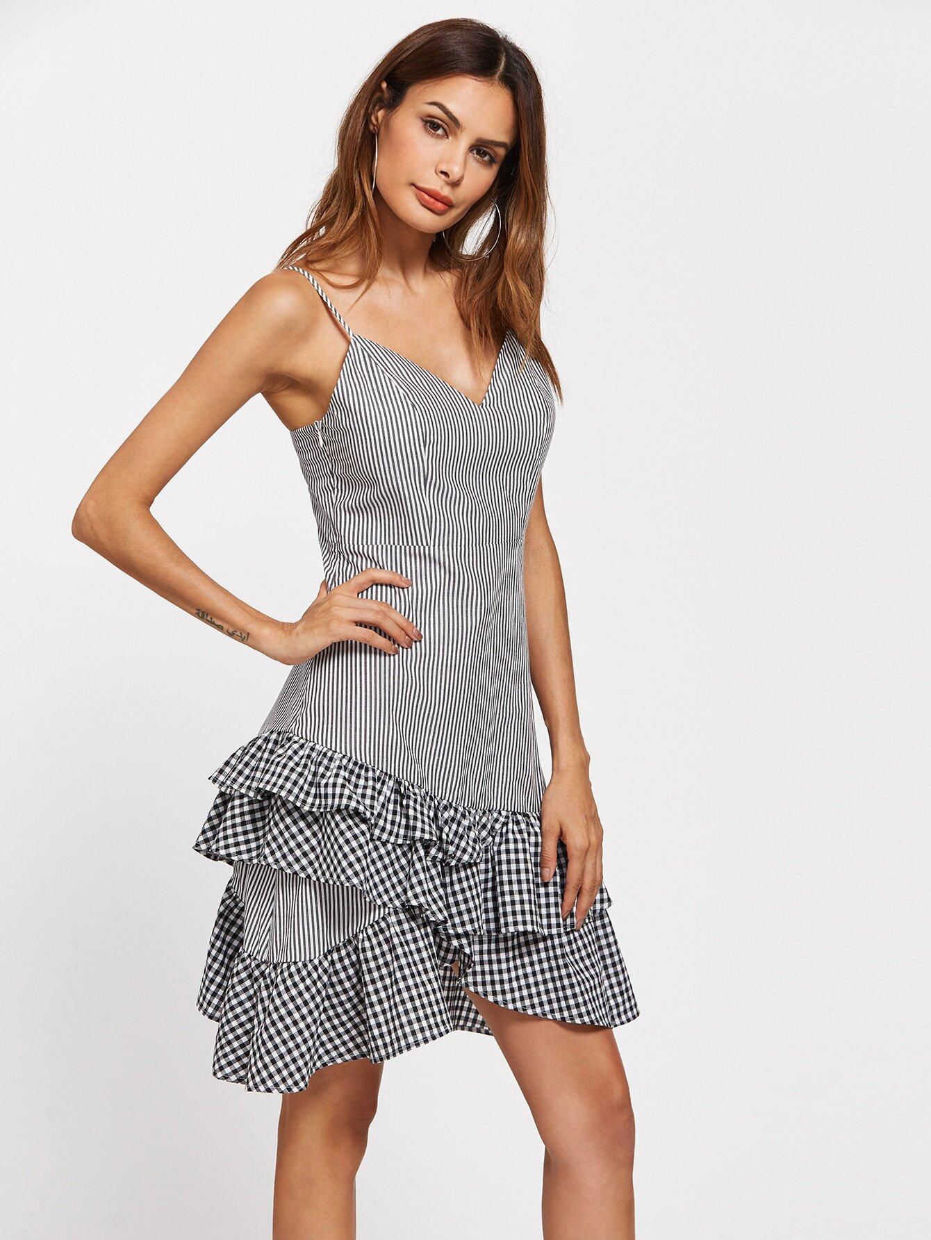 Фото Layered Gingham Frill Hem Cami Dress. Купить с доставкой