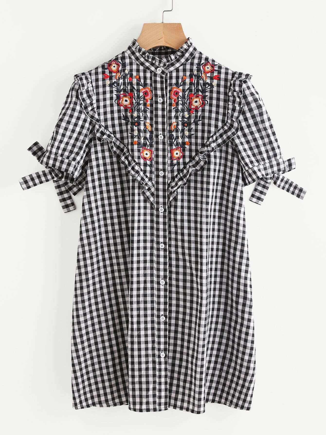 Фото Embroidered Yoke Frilled Tie Sleeve Gingham Shirt Dress. Купить с доставкой