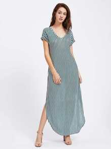 Curved Hem Striped Tee Dress