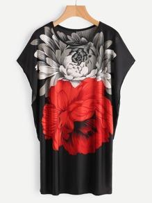 Dolman Sleeve Flower Print Tee Dress