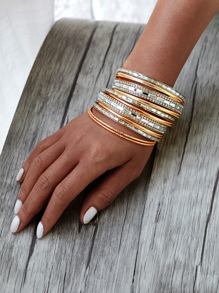 Rhinestone Embellished Bangle Bracelet Set