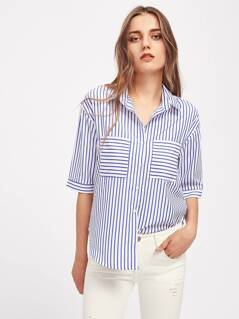 Patch Pocket Front Pinstripe Shirt