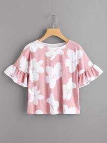 Camiseta de volante con estampado de flor al azar