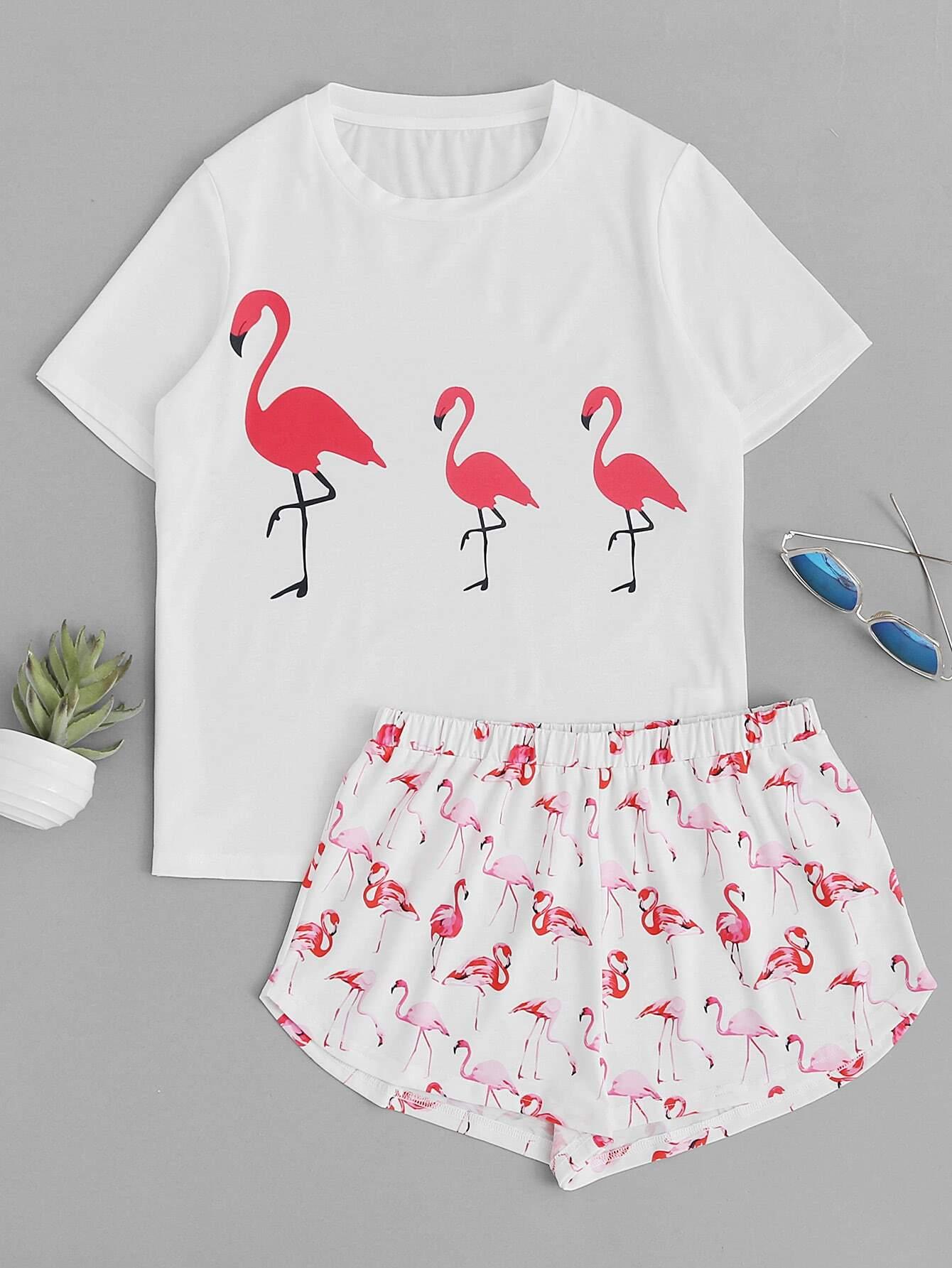 Фото Allover Flamingo Print Top With Shorts Pajama Set. Купить с доставкой