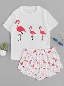 Top mit Flamingomuster und Shorts Pajama Set