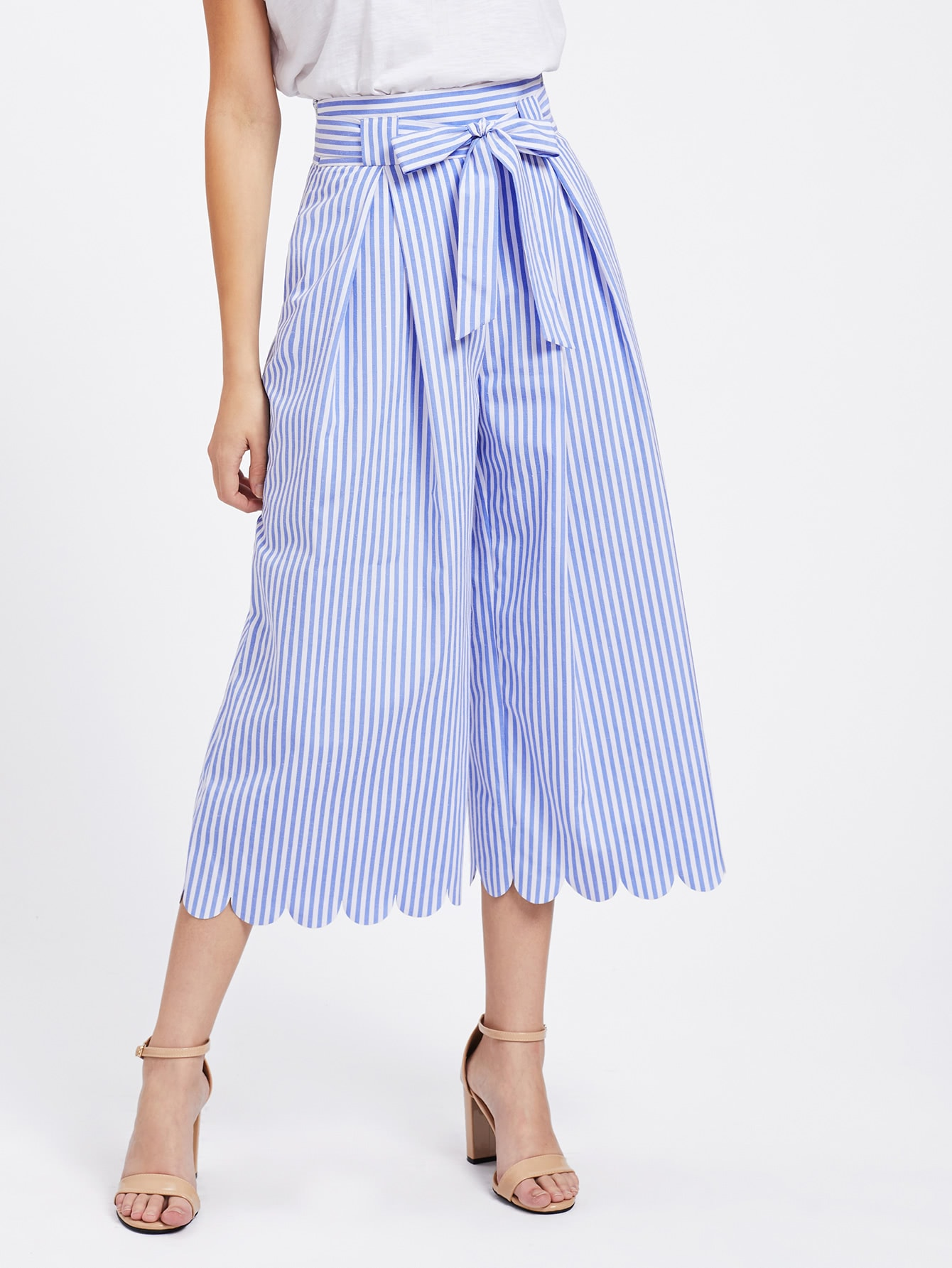 Tie Waist Scallop Hem Culotte Pants elastic waist scallop ruffle hem pants