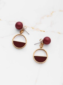 PU Detail Geometric Earrings With Ball