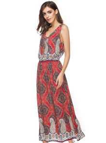 V Neckline Grommet Detail Ornate Print Dress With Necklace