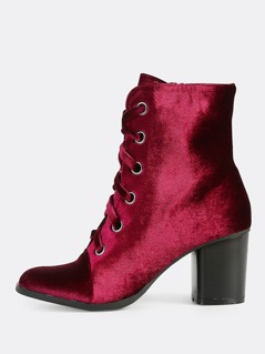 Velvet Lace Up Booties BORDEAUX