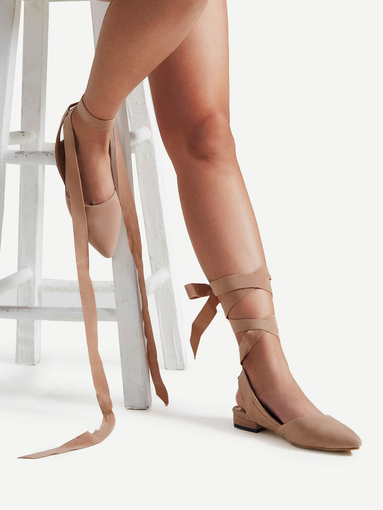 Image of Pointed Toe Tie Leg Ballet Flats