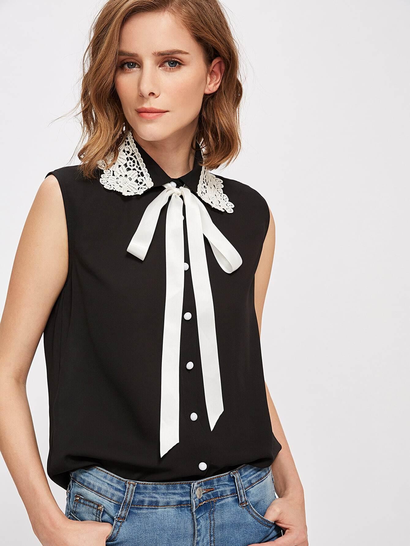 Lace Applique Collar Tie Neck Blouse blouse170710705