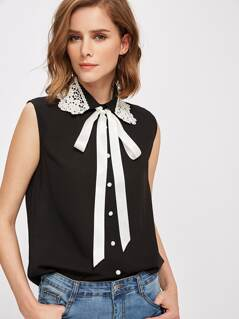 Lace Applique Collar Tie Neck Blouse