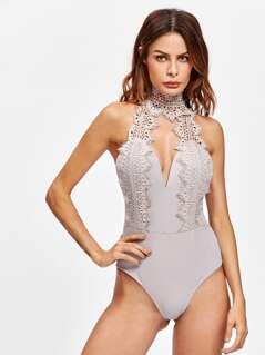 Lace Choker Plunge Bodysuit