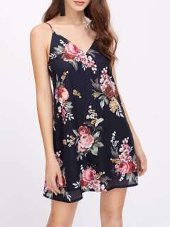 Floral Print V Back Cami Dress