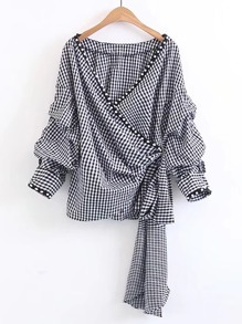 Pearls Embellished Checkered Tie Waist Blouse