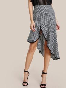 Falda con ribete en contraste y volantes