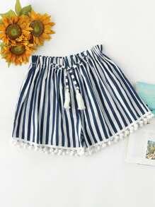 Striped Drawstring Waist Pompom Hem Shorts