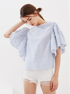Frill Trim Exaggerate Sleeve Top