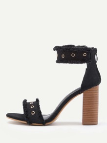 Raw Trim Cork Heeled Denim Sandals With Eyelet