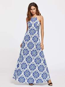 Geo Print Open Back Racer Neck Dress pictures